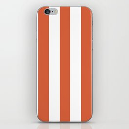 Medium vermilion red - solid color - white vertical lines pattern iPhone Skin