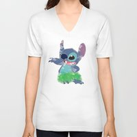lilo and stitch V-neck T-shirts featuring Stitch  by Nic Moore