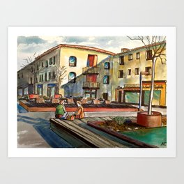 Watercolour painting : The Boulangerie in Valbonne Art Print