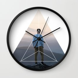 Top of the World Boy - Geometric Photography Wall Clock