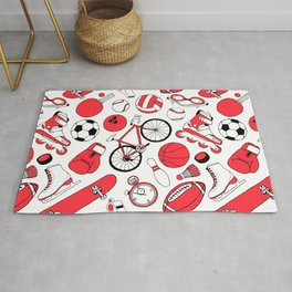 I Love Sports (red pattern) Rug