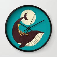 giraffe Wall Clocks featuring The Giraffe & the Whale by Jay Fleck