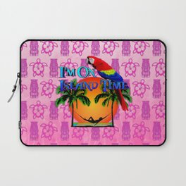 Pink Tiki Island Time And Parrot Laptop Sleeve