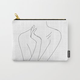 Nude figure line drawing illustration - Dari Carry-All Pouch