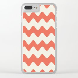 Pantone Living Coral & Cannoli Cream Soft Zigzag Rippled Horizontal Line Pattern Clear iPhone Case