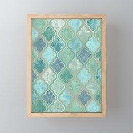 Bohemian Home Decor, Morocco Art, Teal, Green and Blue Framed Mini Art Print