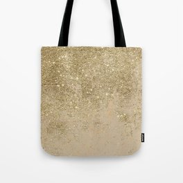 Girly trendy gold glitter ivory marble pattern Tote Bag