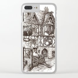Medieval town ink Clear iPhone Case