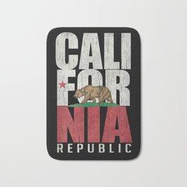 Cali Bear Flag with deep distressed textures Bath Mat