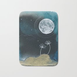 Moon Series #11 Watercolor + Ink Painting Bath Mat