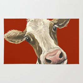 Cute Cow Painting, Red Cow Painting Rug