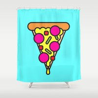 boyfriend Shower Curtains featuring pizza is my boyfriend by molly ennis