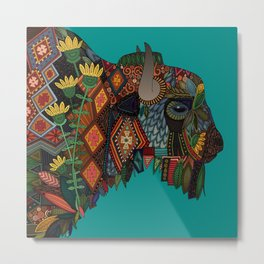bison teal Metal Print