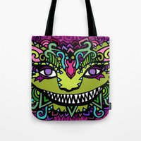 cheshire Tote Bags featuring CHESHIRE by AZZURRO ARTS