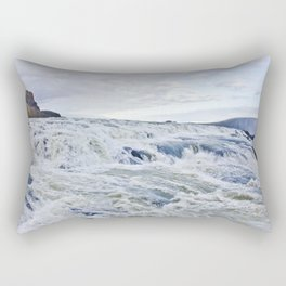 Closeup of the Rushing Waters Falling Down the Rocks of Gullfoss Waterfall in Iceland Rectangular Pillow
