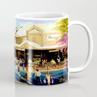 cafe Mugs featuring Sidewalk Cafe by Helen Syron