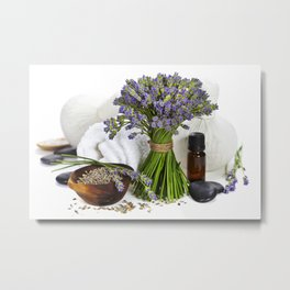 lavender spa (fresh lavender flowers, towel, essential oil, pebbles, Herbal massage balls) over whit Metal Print