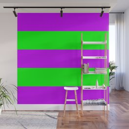 Neon Purple & Green Wide Horizontal Stripes #2 Wall Mural