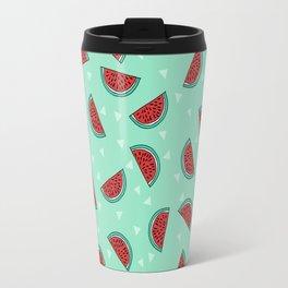 Watermelon triangles mint minimal summer spring fruit pattern print by andrea lauren Travel Mug