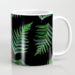watercolor painted green fern leaves arranged like seamless pattern Coffee Mug