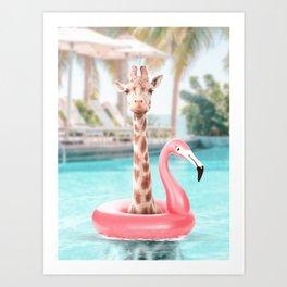 Giraffe in a swimming pool Art Print