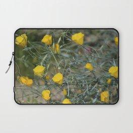 Closeup Golden Yellow California Poppies Coachella Wildlife Preserve Laptop Sleeve