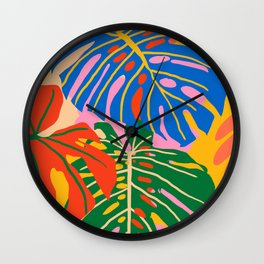 She Always Wears Neutrals But Has The Most Colorful Mind #painting #botanical Wall Clock