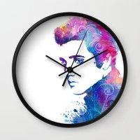 elvis presley Wall Clocks featuring Elvis Presley by WatercolorGirlArt