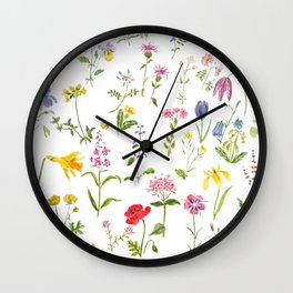 botanical colorful countryside wildflowers watercolor painting Wall Clock