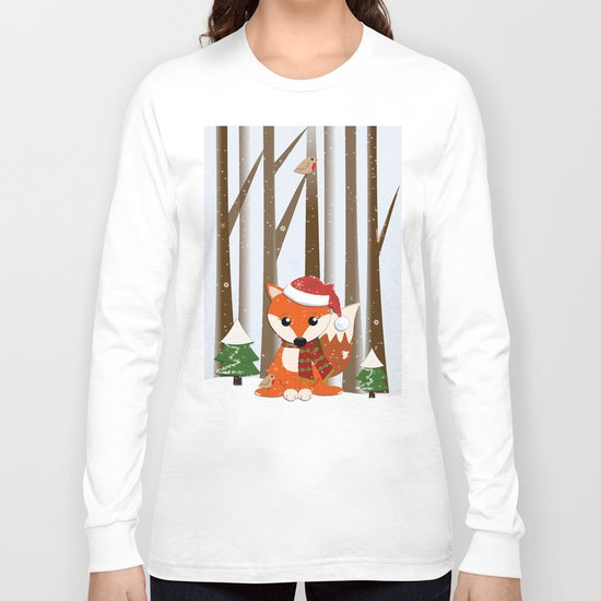 Cute Foxes with Santa hats in a snowy winter world Long Sleeve T-shirt