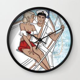 Lovers on a Sailboat Wall Clock
