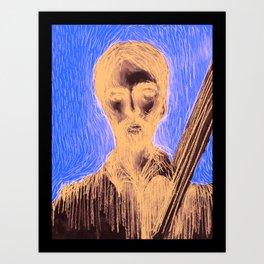 Man and strings Art Print