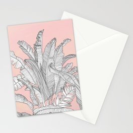 Banana Leaves Illustration - Pink Stationery Cards