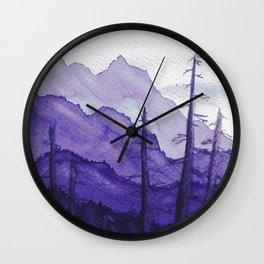 Tonal Mountain Study 2 Purple Wall Clock