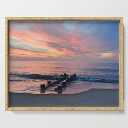 cotton candy beach sky Serving Tray
