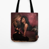 nicki Tote Bags featuring Bey & Nicki by Tyler Simien