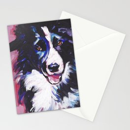 Fun BORDER COLLIE Dog bright colorful Pop Art painting by Lea Stationery Cards