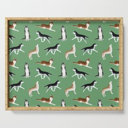 Husky Pattern (Green Background) Serving Tray