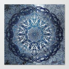 Indigo Nouveau Shibori Mandala Canvas Print