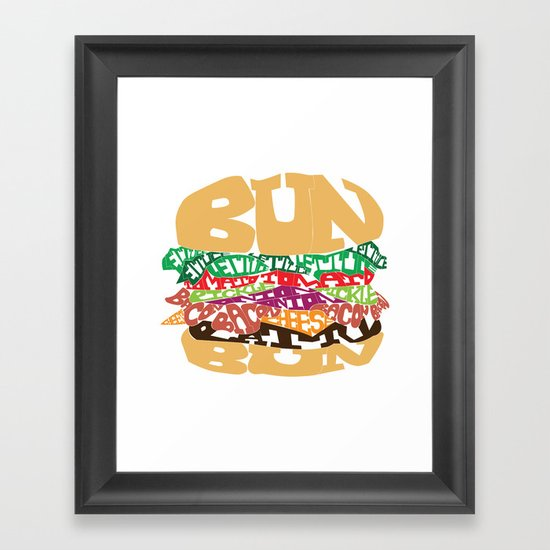 Word Drawing Burger Framed Art Print
