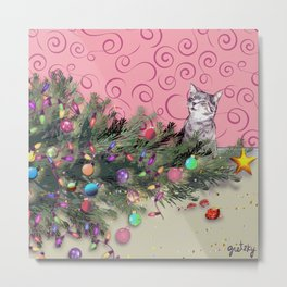 Cat knocked over the Christmas tree Metal Print