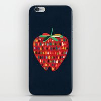 strawberry iPhone & iPod Skins featuring Strawberry by Picomodi