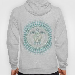 Turquoise Green Turtle And Mandala Hoody