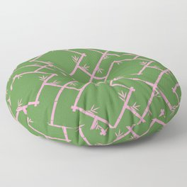 Bamboo Chinoiserie Lattice in Green + Pink Floor Pillow