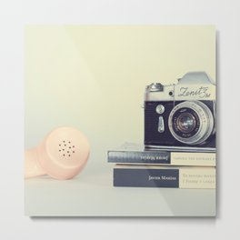 Film Camera and Pink Telephone (Retro and Vintage Still Life Photography) Metal Print
