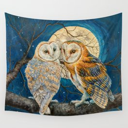 Owls Moon Stars Wall Tapestry