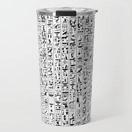 Hieroglyphics B&W / Ancient Egyptian hieroglyphics pattern Travel Mug