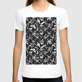 Colourscape Summer Floral Pattern Black and White T-shirt