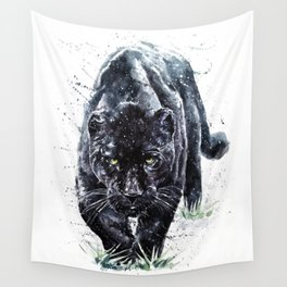 Panther watercolor painting predator animals puma Wall Tapestry