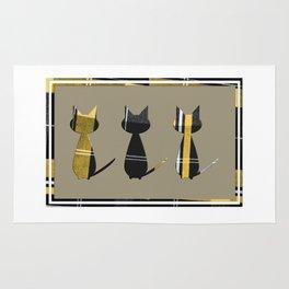 Cool Cats in Tartan Rug